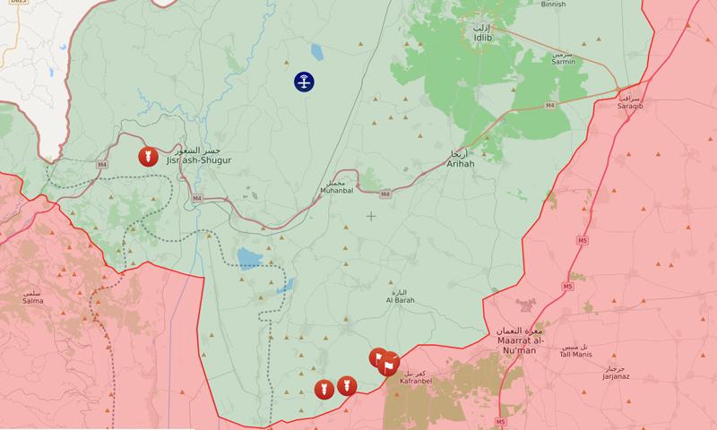 خريطة توضح مناطق السيطرة بمنطة إدلب شمال غربي سوريا - 10 آذار 2020 (liveuamap)