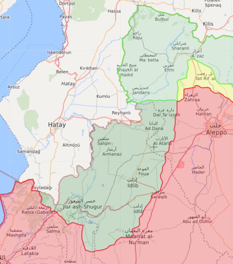 توزع السيطرة في شمال غربي سوريا - 29 آذار 2020 (Livemap)