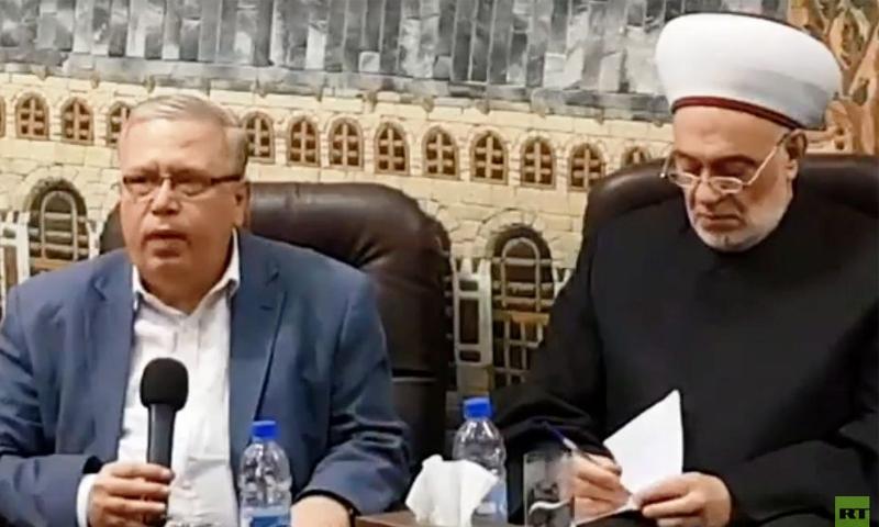 وزير العدل السابق نجم الأحمد خلال محاضرة في مجمع الفتح الإسلامي - 7 من آذار 2020 (روسيا اليوم)