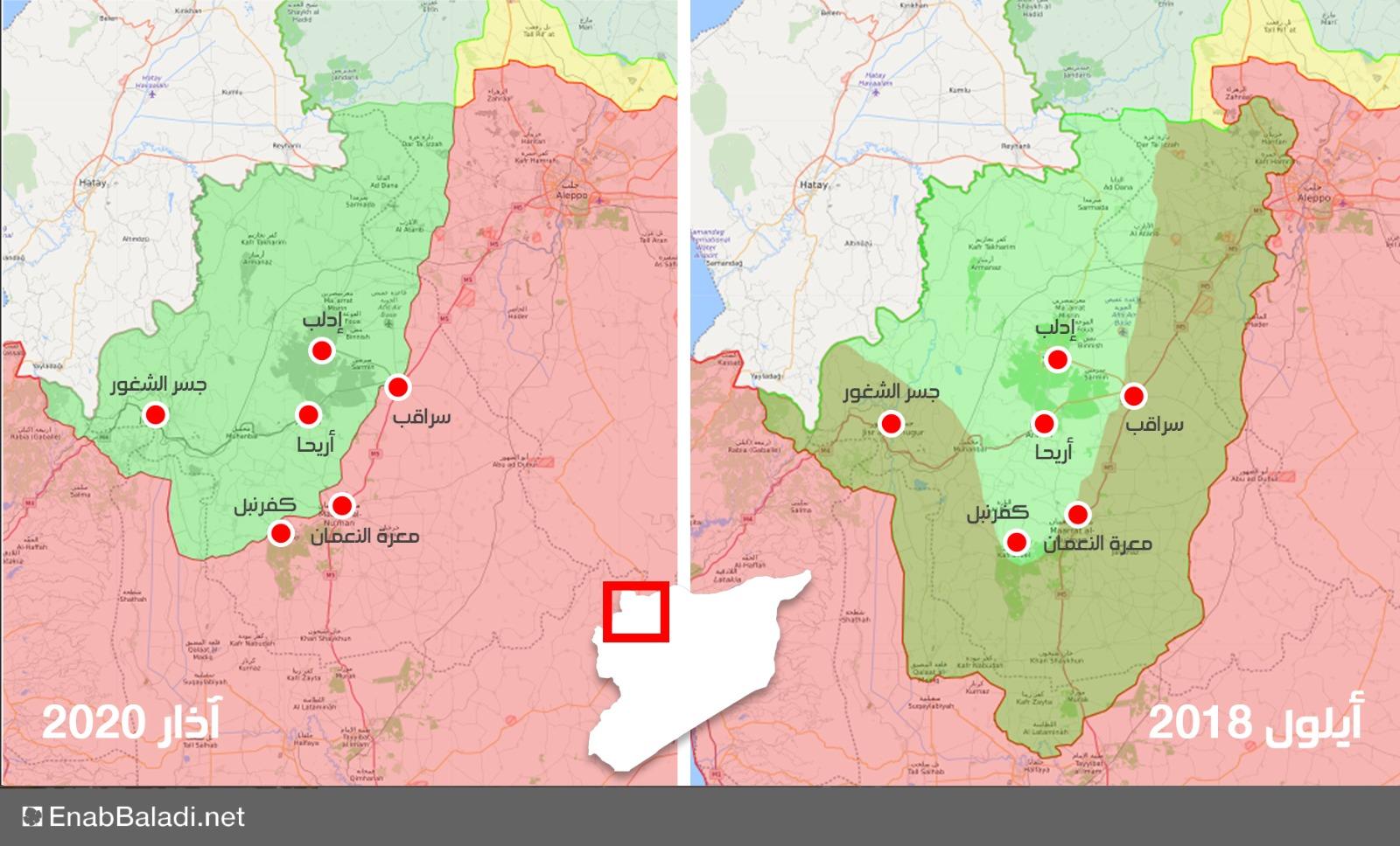 خريطة توضح تراجع السيطرة الميدانية لفصائل المعارضة في إدلب بين عامي 2018 و2020 (عنب بلدي)