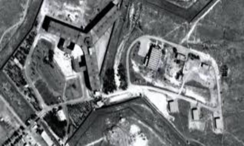 صورة لسجن صيدنايا العسكري قرب العاصمة السورية دمشق من الأقمار الإصطناعية -(منظمة العفو الدولية)