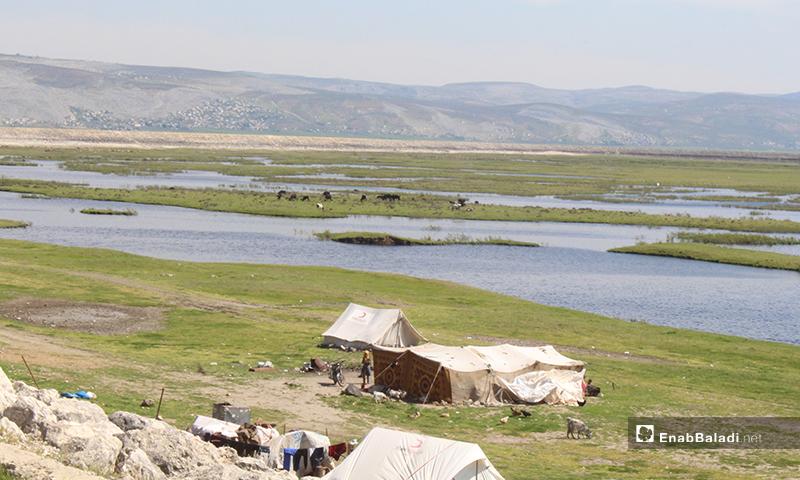 محيمات في سهل الروج بريف إدلب - 16 من نيسان 2020 (عنب بلدي)