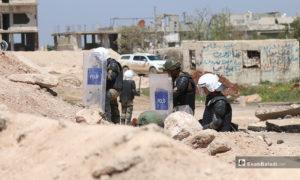 تمركز عناصر الجيش التركي وألياته العسكرية على طريق اللاذقية-حلب الدولي (M4)، في الشمال السوري لحماية تسيير الدوريات المشتركة مع روسيا- 17 من نيسان (عنب بلدي)