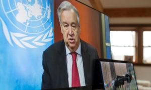 الأمين العام للأمم المتحدة انطونيو غوتيريش خلال مؤتمر صحافي عبر الانترنت- 3 من نيسان 2020 (فرانس برس)