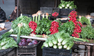 بسطة خضرة في سوق مدينة إدلب- 7 من نيسان (عنب بلدي)