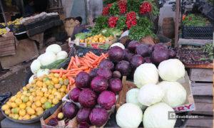 محل خضرة في سوق مدينة إدلب- 7 من نيسان (عنب بلدي)