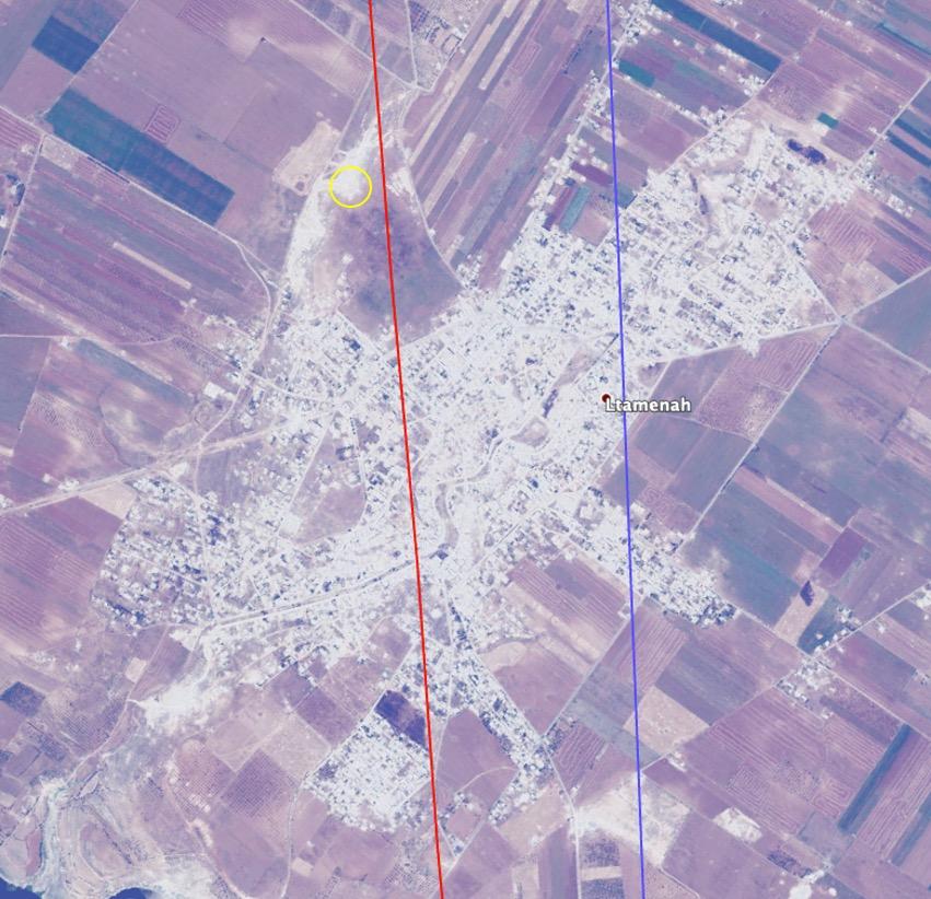 خطوط تظهر مسار الغارات في اللطامنة في أثناء زيارة اللواء علي عبد الله أيوب والعميد سهيل حسن (bellingcat)