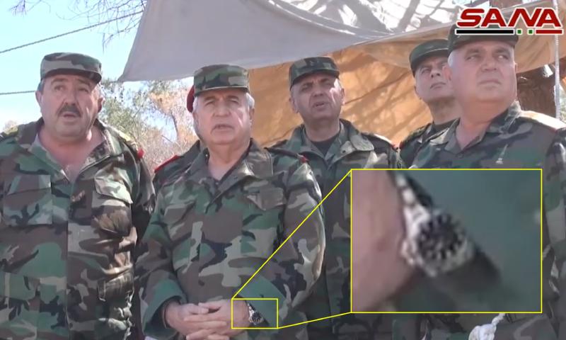 وزير الدفاع السوري اللواء علي عبد الله أيوب في زيارة إلى أطراف مدينة اللطامنة - 25 آذار 2017 (تعديل bellingcat)