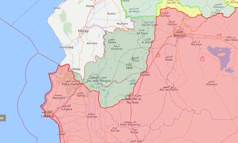خريطة توضح مناطق سيطرة المعارضة (ذات اللون الأخضر على الخريطة) - 27 نيسان 2020 (liveuamap)