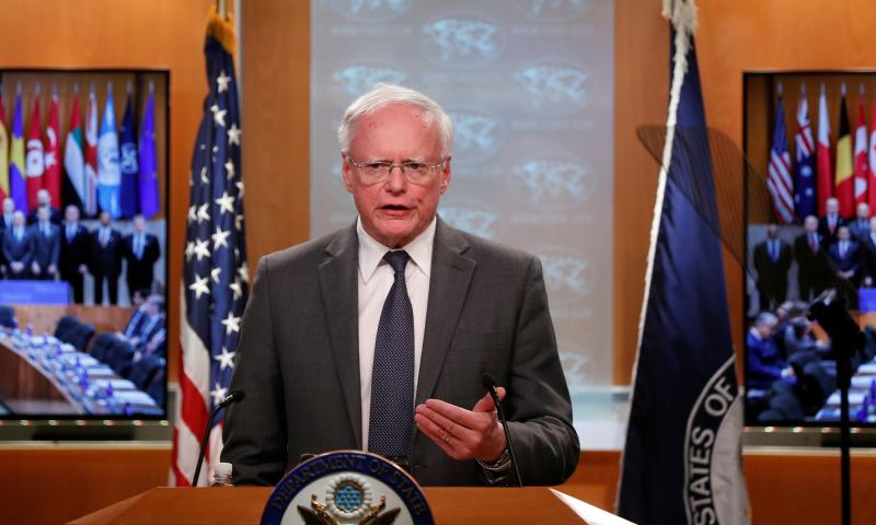 المبعوث الأمريكي الخاص بسوريا جيم جيفري خلال حديثه في واشنطن - 14 تشرين الثاني 2019 (رويترز)