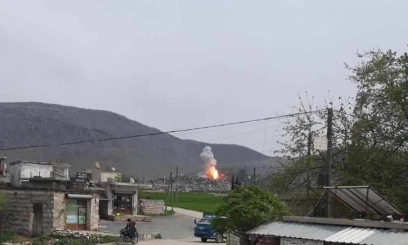 انفجار في قرية الكستن بريف جسر الشغور - 5 نيسان 2020 (مصادر محلية)