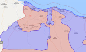 19 نيسان 2020. اللون الأزرق تحت سيطر الوفاق، والأحمر تحت سيطرة قوات حفتر