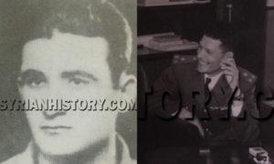العقيد عدنان المالكي قبل مقتله بأسابيع، وعلى اليسار المساعد يونس عبد الرحيم الذي اغتاله (التاريخ السوري)