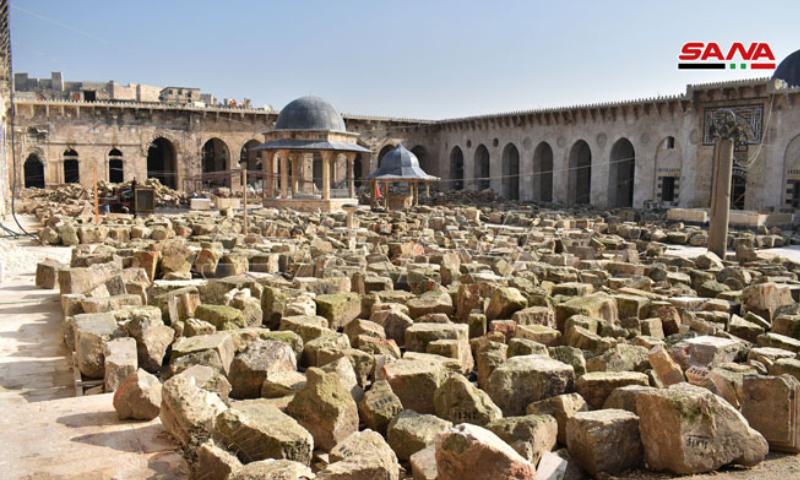 حجارة المئذنة خلال ترميم الجامع الأموي في حلب - 21 كانون الأول 2019 (سانا)