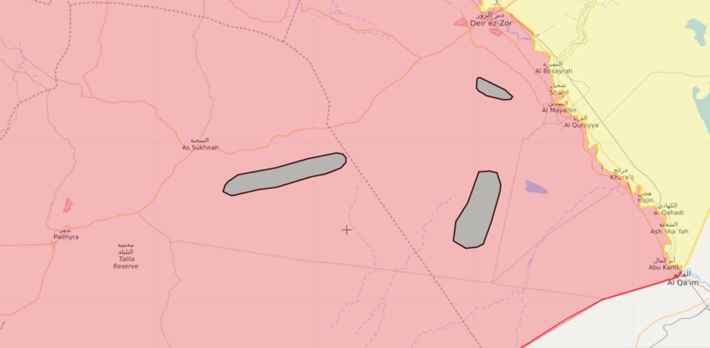 خريطة السيطرة الميدانية في البادية السورية - 3 نيسان 2020 (Livemap)