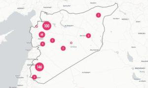 خريطة تظهر أماكن استهدفت بالسلاح الكيماوي في سوريا (GPPi)