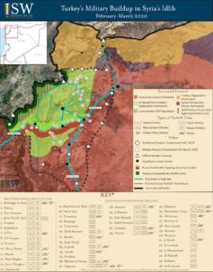 رسم بياني يظهر توزع القوات التركية في إدلب شمالي سوريا (معهد دراسات الحرب)