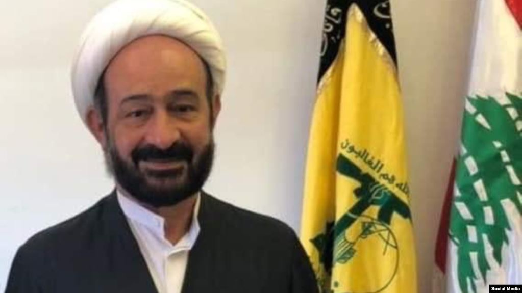 """ممثل حزب """"الله"""" اللبناني في العراق، محمد كوثراني، 2020، المصدر: الحرة."""