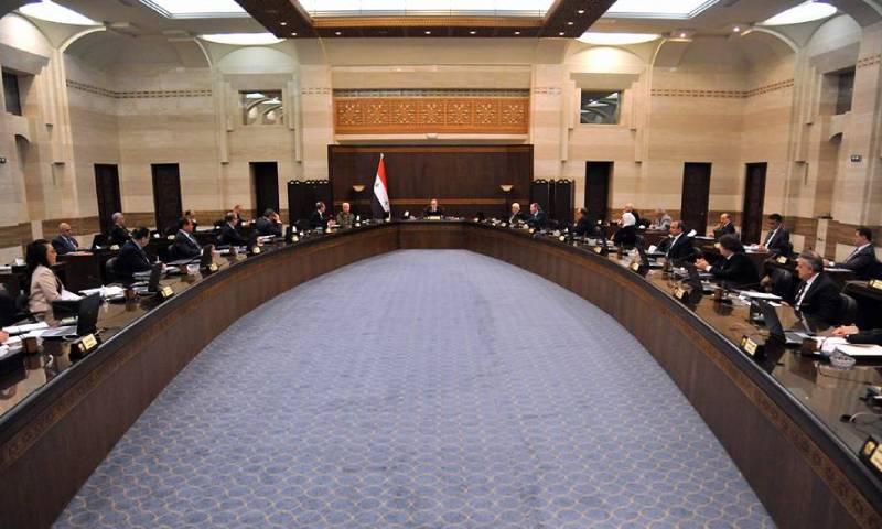 اجتماع لحكومة النظام السوري برئاسة عماد خميس - 26 نيسان 2020 (رئاسة مجلس الوزراء فيس بوك)
