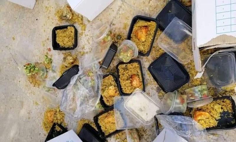 رمي وجبات الطعام في مركز الحجر الصحي بدمشق
