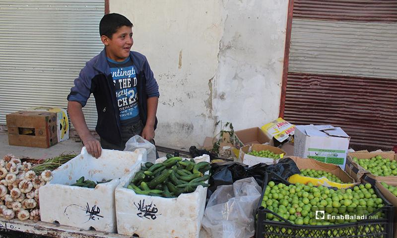 طفل يبيع الخضروات في بلدة سرمين بريف إدلب الشرقي- 8 من أيار (عنب بلدي)
