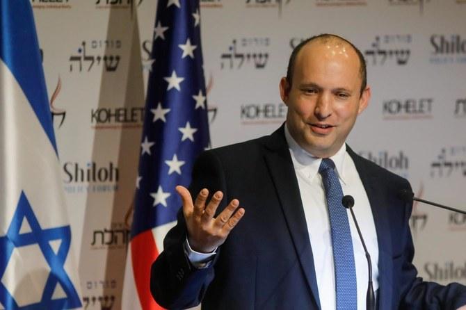 وزير الدفاع الإسرائيلي نفتالي بينيت يتحدث في مؤتمر منتدى كوهيليت في القدس- 8 من أيار (AFP)