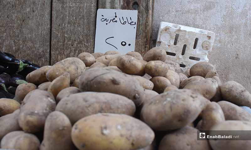 صورة توضح سعر كيلو البطاطا في بلدة سرمين بريف إدلب الشرقي- 8 من أيار (عنب بلدي)