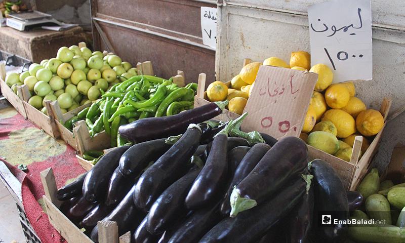 باذنجان وليمون وكوسا وتفاح وفليلفة في محل للخضروات ببلدة سرمين بريف إدلب الشرقي- 8 من أيار (عنب بلدي)