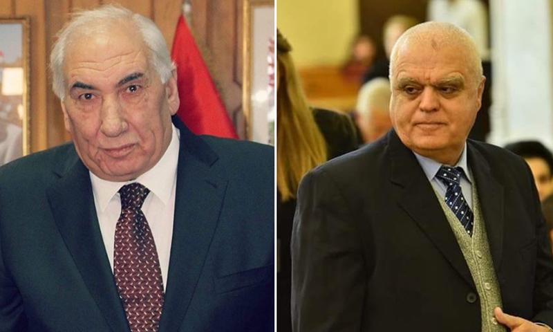 محافظ درعا مروان إبراهيم شربك (يمين) والمحافظ السابق محمد خالد الهنوس (الباحث السوري عبد الله جباصيني)