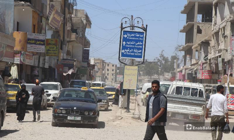 ازدحام الشوارع في مدينة الرقة 12  من أيار 2020 (عنب بلدي)