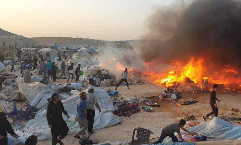 احتراق خيم في مخيم دير حسان شمال إدلب - 16 أيار 2020