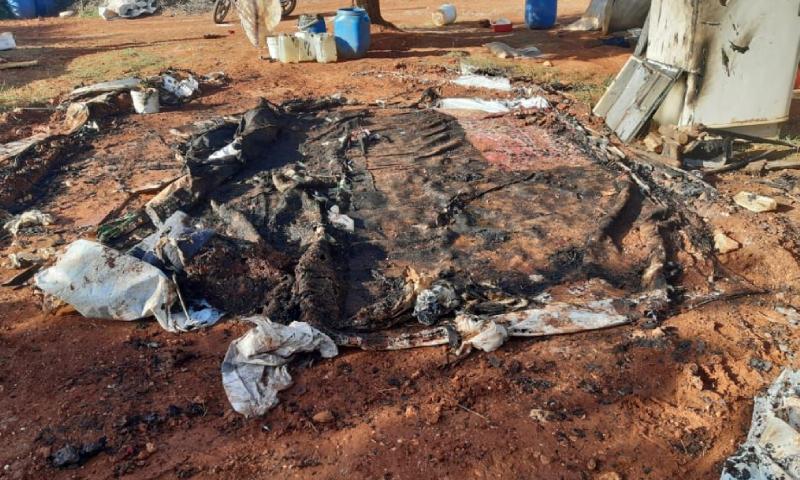 حريق إحدى الخيم في مخيم دير حسان شمال إدلب - 16 أيار 2020