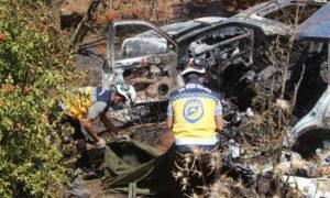 الدفاع المدني ينتشل جثث ضحايا نتيجة استهداف مجهول لسيارتهم - 21 أيار 2020 (الدفاع المدني)