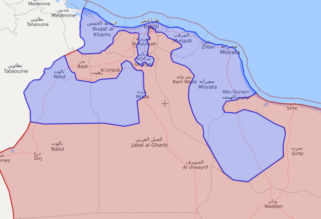 خريطة السيطرة الميدانية في غربي ليبيا - 18 من أيار 2020 (Livemap)