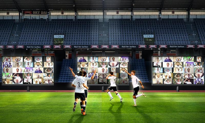 صورة تعبيرية لخطة نادي آرهوس الدنماركي حول وضعه شاشات تظهر الجماهير داخل الملعب لاستكمال المباريات دون حضور واقعي لهم في الملعب- 8 من أيار (AGF)