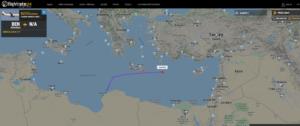 """رحلة أجنحة الشام رقم """"SAW356"""" التي انطلقت من مطار بنغازي إلى دمشق اليوم- 20 من أيار (flightradar24)"""
