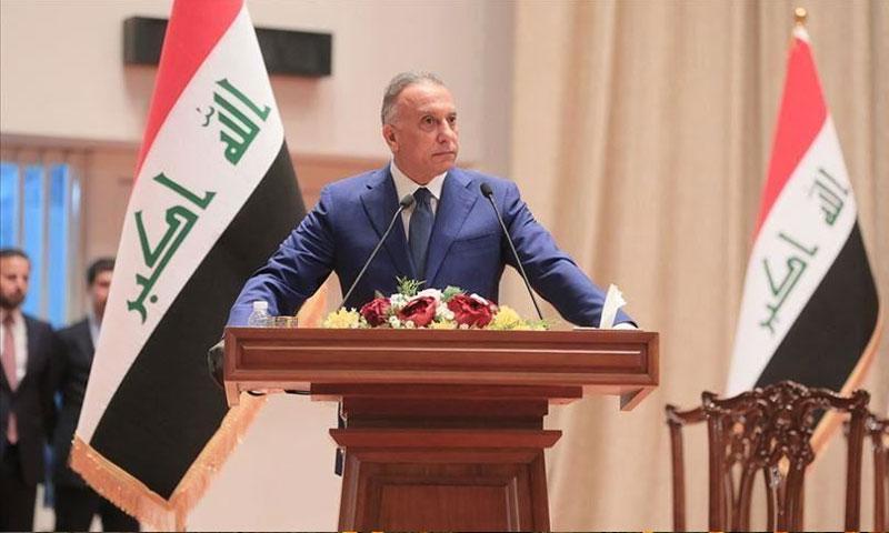 مصطفى الكاظمي في أولى جلسات الحكومة العراقية 9 من أيار 2020 (الأناضول)