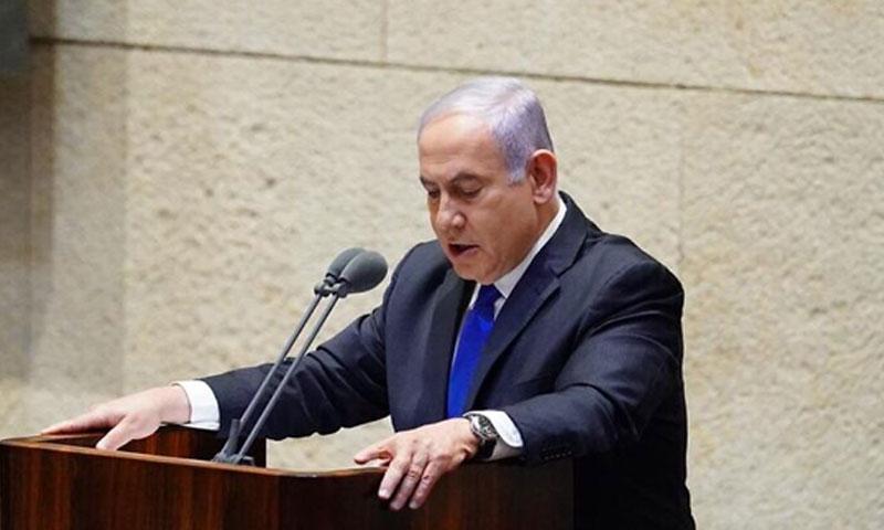 نتنياهو أمام الكنيست 17 من أيار 2020 (تايمز أو إسرائيل)