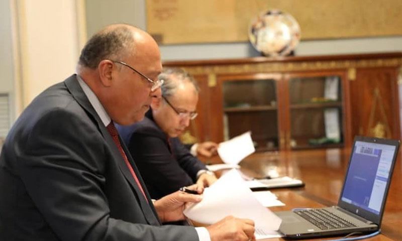 وزير الخارجية المصري سامح شكري أثناء الاجتماع مع وزراء خارجية مجموعة 3+1 واالإمارات 11 من أيار 2020 (وزارة الخارجية المصرية)