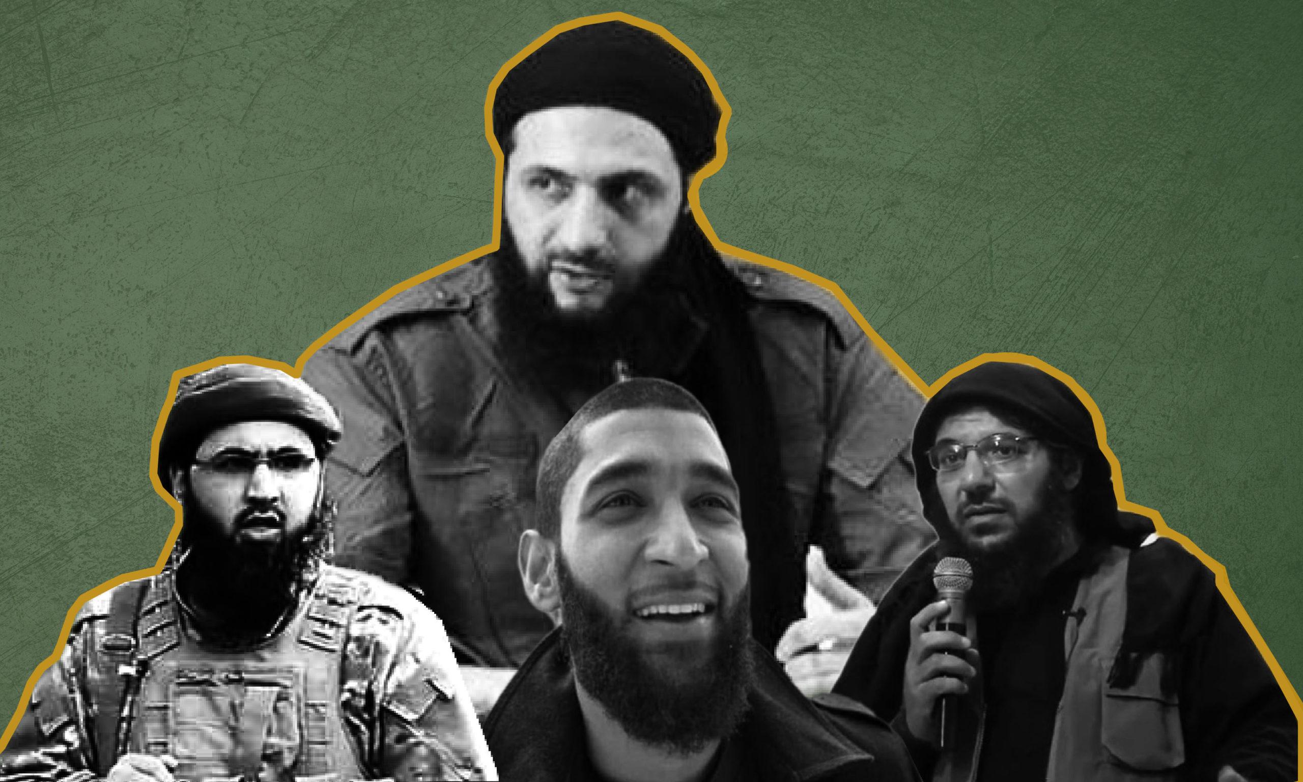 أبو مالك التلي وأبو حسام البريطاني وأبو صلاح الأوزبكي، في الخلف أبو محمد الجولاني (عنب بلدي)