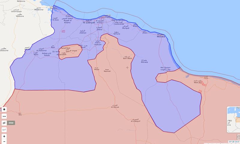 خريطة السيطرة الميدانية في غربي ليبيا - 5 حزيران 2020 (Livemap)