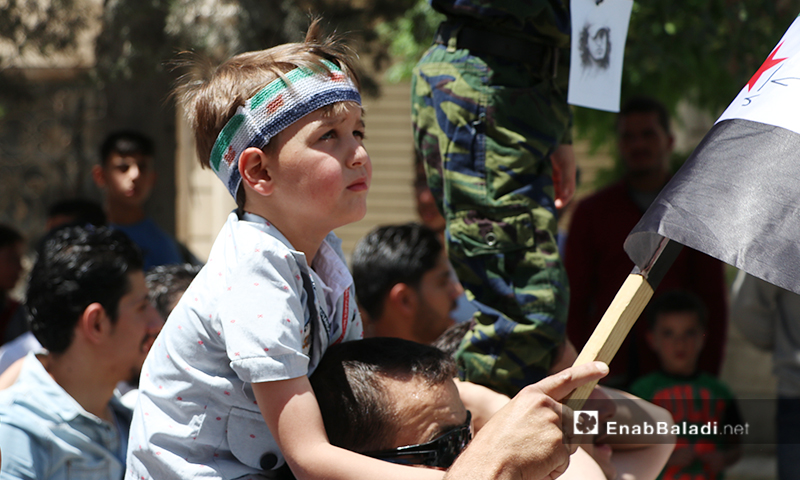 مظاهرة في مدينة الباب للمطالبة بالعودة إلى المدن التي هجر منها أهلها - 5 من حزيران 2020 (عنب بلدي)