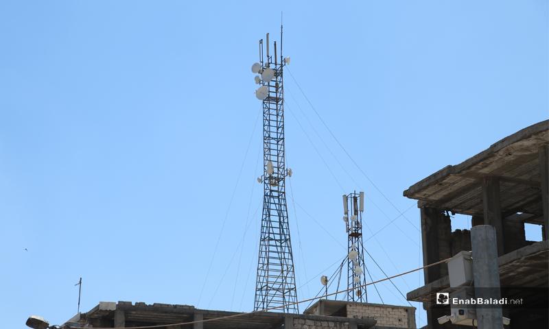 برج إنترنت هوائي في مدينة الباب - 4 حزيران 2020 (عاصم الملحم/ عنب بلدي)