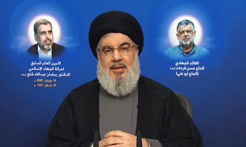 أمين عام حزب الله حسن نصرالله أثناء خطاب متلفز 16 من حزيران 2020 (قناة الميادين)