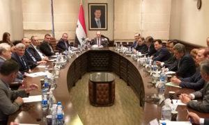 رئيس مجلس الوزراء في حكومة النظام السوري، حسين عرنوس، يترأس اجتماع المحافظين في وزارة الإدارة المحلية- 14 من حزيران (رئاس المحلس/فيس بوك)