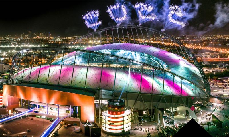 استاد خليفة الدولي في حفل افتتاحه بعد التعديلات التي أجريت عليه لاستضافة كأس العالم 2022 في قطر- (qatar2022)