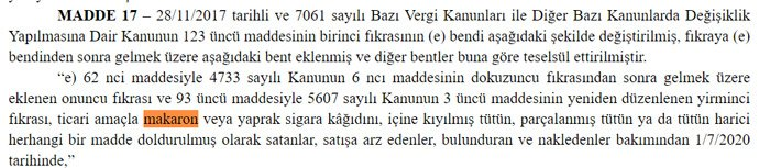 قرار منع بيع سجائر اللف - صحيفة الجمهورية التركية - (2017)