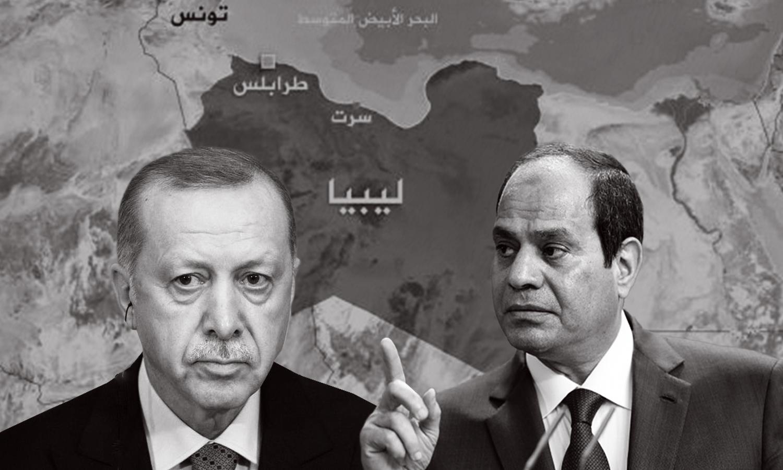 الرئيس التركي رجب طيب أردوغان والرئيس المصري عبدالفتاح السيسي وخريطة ليبيا- (تعديل عنب بلدي)