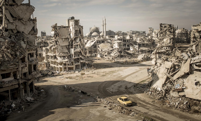 جانب من أحياء حمص المدمرة - 2018 (نايشونال جيوغرافيك)