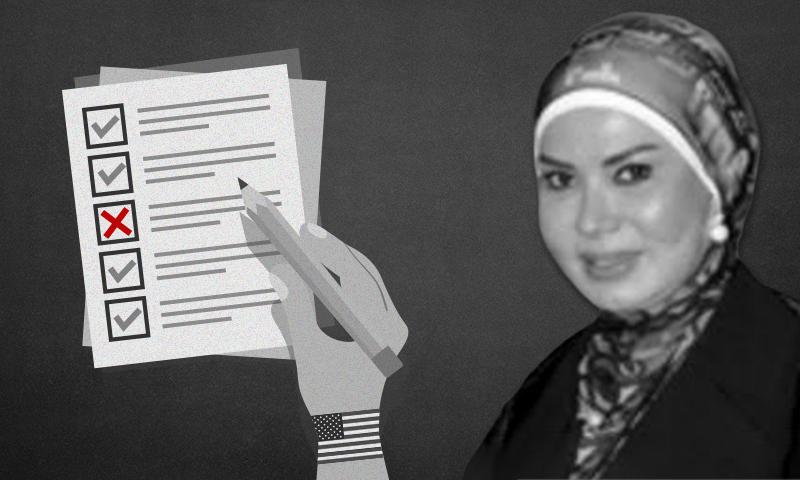 سيدة الأعمال سمية صابر حمشو شقيقة رجل الأعمال المقرب من النظام السوري محمد حمشو (تعديل عنب بلدي)